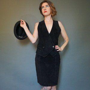 Vintage Forenza Black Suede Vest Size Small